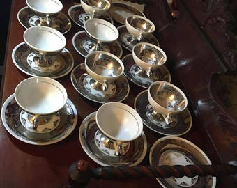 22 Pc Demitasse Espresso Cup and Saucers