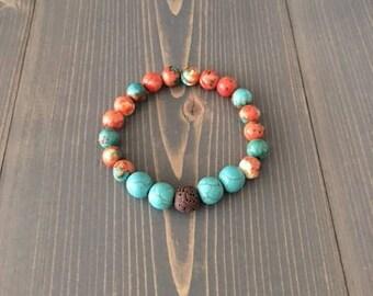 Stretchy bracelet, Lava Bead Diffuser Bracelet, Aromatherapy Bracelet, Lava Bracelet, Essential oil Bracelet, 8mm Gemstones, 10mm Lava Bead