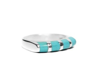 Women's Sterling Silver Turquoise Ring, Size 6, Size 7