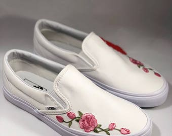 Custom slip on vans, rose vans, rose patch, white vans, women's vans, slip on sneakers, rose shoes, rose embroidery, checkered vans, rose