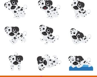 Children's illustration, children's illustration Dalmatian dogs, vector illustration Dalmatian puppies, Dalmatian puppies in different poses
