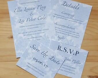 Invitation & Details, Floral Wedding Stationery