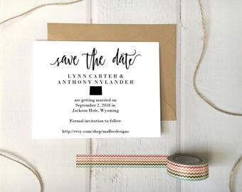 Wyoming Wedding Save The Date Printable Postcard Template / Instant Download / Destination Wedding State Icon Print At Home Card