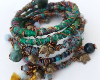 Silk thread bracelet - beautiful mixed sari silk thread - with gemstones and lovely brass asian elephant charms - enchanted forest wrap