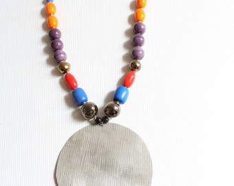 Beaded necklace - African necklace - Bead necklace - Maasai necklace - African necklace - African jewelry -Silver necklace Colorful necklace