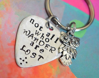 "Inspirational Keychain, ""Not all who wander are lost"", Owl Keychain, Inspirational Quote, Owl Charm, Owl Gifts, Inspirational, Handstamped."