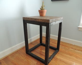 distressed wooden end table perfect for bedside table entryway table or sofa table