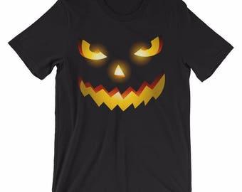 Psycho Pumpkin Unisex Halloween T-Shirt Scary Pumpkin Black Halloween Shirt Witty Novelty