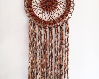 Handmade boho wall hanging - vintage wicker medallion - upcycled - chunky knit yarn - brown - rattan