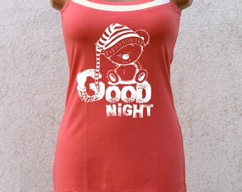 Nice coral cotton nightgown with printed teddy bear