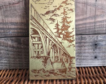 Vintage Copper on Wood Wall Hanging Picture Bridge Over The River 1970's