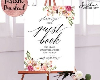 Please Sign Our Guest Book, Wedding Guest Book Sign, 11x14 8x10 5x7 4x6 Wedding Ceremony Sign, Digital Download Template, PDF and JPEG