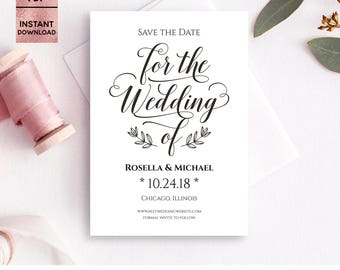 Save The Date Template, Save The Date Cards, Printable 5x7 Save The Date Invitation, Script Font, Wedding, Editable PDF, Digital Download