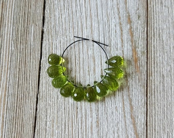 Spring Summer Olive Green Peridot Faceted Teardrop Briolette Beads, 10 pcs, 8mm, 9mm, Destash