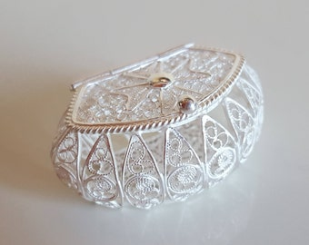 Silver Filigree box. Handmade.Authentic Maltese artwork. Malta Cross design.