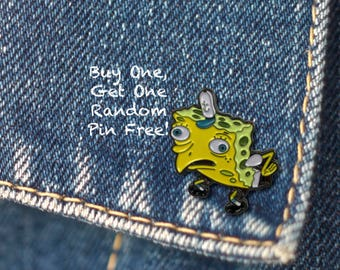 BUY 1, GET 1 Random Pin Free! SpongeBob Meme Enamel Pin Mocking SpongeBob Lapel Pin Spongebob Pin Badge Funny Enamel Pin Soft Enamel Pin