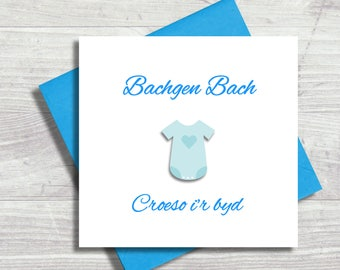 Welsh New Baby Card, Congratulations on the Birth, Baby Boy, Croeso i'r Byd