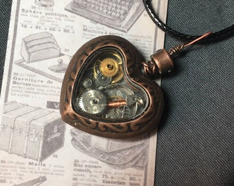 Steampunk Copper Alloy watchparts Heart Necklace