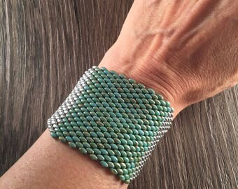 Cuff beadwoven jewelry for women, turquoise cuff, silver cufflinks, gift for woman, ethnic cuff