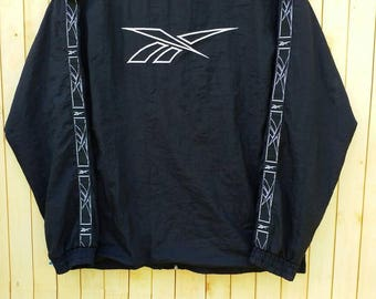 Vintage REEBOK Windbreaker// Reebok Logo Line// Black Color// Size S// Sportswear Nike Adidas Trefoil