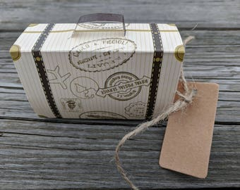 5+ Airplane Suitcase Favor Boxes, Destination Wedding Favor, Travel Theme Wedding Party Favors, Sweet Bags for Wedding, FREE Tags & Twine!