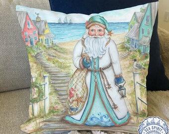 Coastal Santa Claus decor | Coastal Christmas pillow cover | coastal decor | beach Christmas decor | Beach house gift | Kate McRostie