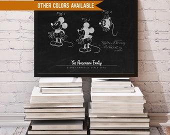 CUSTOM Disney Sign, CUSTOM Disney Sign, Disney Patent Print, Disney Family Sign, Romantic Disney Gift, Custom Mickey Mouse, Vintage Disney