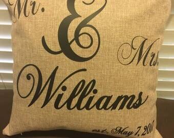 Personalized Family Name Mr. & Mrs. Pillow with est. date