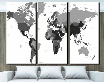 Black and white map,Push pin world map,Giant world map,Detaield world map,world map wall poster,atlas canvas prints,map wall decor,black map