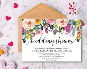 Wedding Shower Invitation, Fall Floral Bridal Shower Card, Couples Shower Invite, Fun wedding program, Instant Download, Decor, Signs, WS 12