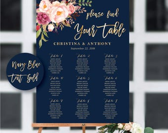 PRINTABLE Wedding Seating Chart, Wedding Seating Chart, Wedding seating template, Navy seating chart, Seating chart, Find Your Seat, #146