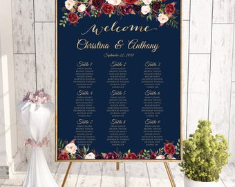 PRINTABLE Wedding Seating Chart, Wedding Seating Chart, Wedding seating template, Navy seating chart, Seating chart, Find Your Seat, #160