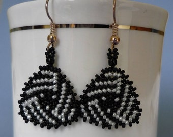 Triangular Black and white glass seed bead earrings