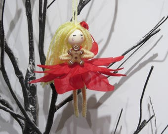 Christmas Fairy waldorf Doll, Princess Fairy Ornament, Flower Fairy Doll, Gift for Girls, miniature doll, Fairy Girl Figurine, flower fairy
