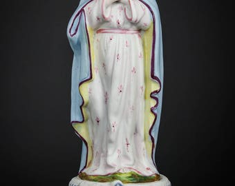 Antique Virgin of Tenderness Bisque Porcelain Statue French Mary Figurine Saint Figure