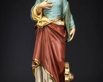 """RARE 23"""" Saint Catherine of Alexandria Plaster Statue Vintage Catharine Figure"""