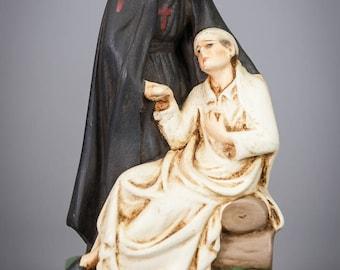 Camillus de Lellis Statue | RARE Saint Figure | Polychromed Plaster | Vintage Figurine