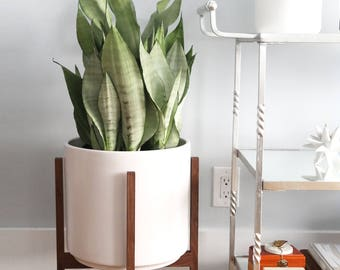 "Large - Mid-century Modern Planter with Walnut or Oak Wood Planter Stand - 12"" White Cylinder Pot"