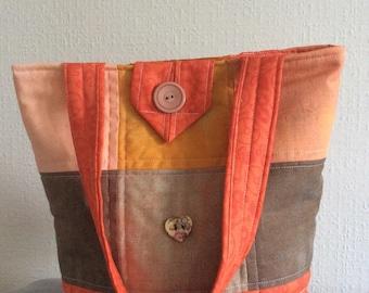 Patchwork tote handbag,handmade in orange