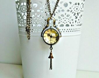 Pocket watch necklace, Antique bronze pocket watch, Vintage pocket watch, Man pocket watch, Orb watch necklace, Gift for her