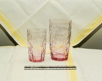 Mid Century Driftwood Pink/Heather by Seneca Glasses, Set of 2, Crinkle Glasses, Pink