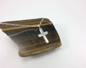 Sterling silver Cross Necklace, Cross Necklace, Baptism necklace, confirmation necklace, confirmation cross, smooth sterling cross