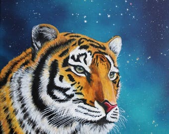 Fantasy Tiger Print with galaxy, animal pictures, Animals pictures | High quality print on canvas | Fantasy art, murals, paintings animals