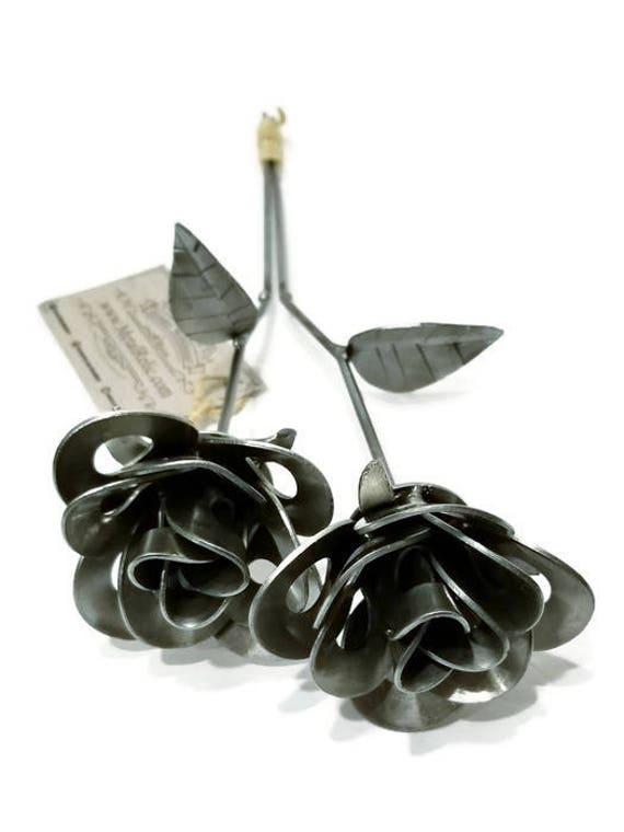 Two Metal Steel Forever Roses created by Welding Scrap Metal Steampunk Style making Unique Gifts and Modern Rustic Home Decor!