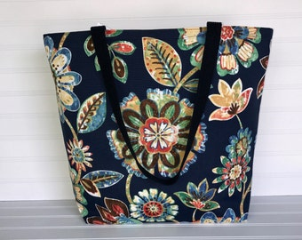 Handmade Everyday Tote | Market Bag |  Blue Multicolored Floral Tote
