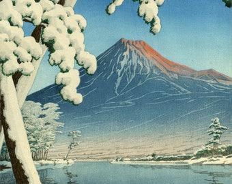 """Japanese Art Print """"Clearing After a Snowfall on Mt. Fuji (Tagonoura Beach)"""" by Kawase Hasui, woodblock print reproduction, landscape, lake"""