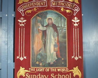 Antique Vintage Reclaimed Religious Church Wall Hanging Parade Banner