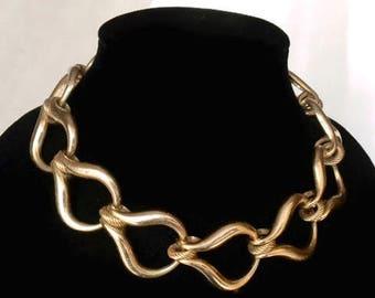 Vintage Henkel and Grosse Christian Dior Gold Tone Large Link Necklace 1970s