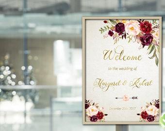 Bohemian Marsala Burgundy Wedding Welcome Sign Printable Marsala Floral Wedding Welcome Gold Foil Burgundy Peony Wedding Reception Decor