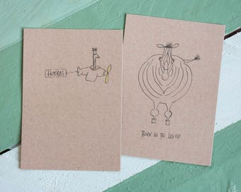 Set Greeting cards/Two pieces/A6 (10.5 x 14.8 cm)/Congratulation card/Birth Announcement/card